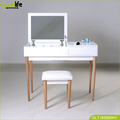 1 Drawer dressing table with Flip Top Mirror / Padded Stool ,white