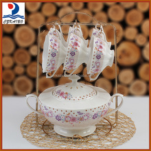 Wholesale price cheap porcelain soup set with bowl, tureen and metal stand