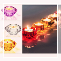 Diamond Shape Sprayed Color Decorative Decorative Christmas Crystal Glass Romantic Tealight Candle Holders