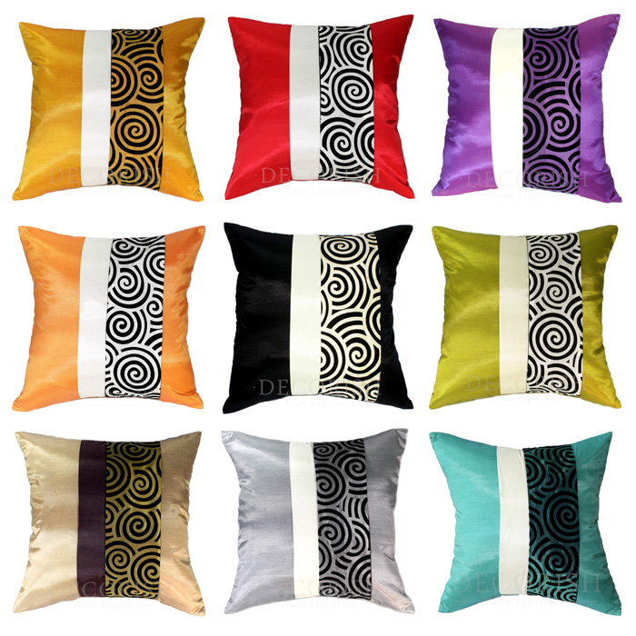 MODERN SILK THROW ACCENT DECORATIVE PILLOW CASE / CUSHION COVER FOR SOFA COUCH & BED 20x20, 24x24 SPIRAL STRIPED