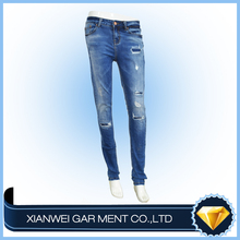 Nice fashion pakistan design women denim tight rippied jeans