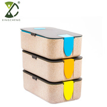 Wholesale Natural Wheat Straw Reusable Plastic Portion Control Leakproof Biodegradable Bento Lunch Box