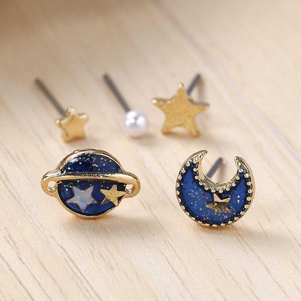 New Fashion Set Star Moon Planet Gold Plated Deep Blue Enamel W/Stoppers Earrings Ear Studs