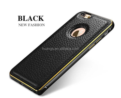 2015 New design Litchi Texture Leather back Cover + Metal Bumper combo Case for iphone 5 5s cases china wholesale