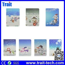 Christmas Snowman Pattern Flip Stand Elastic Belt PC PU Leather Case for iPad Air 2