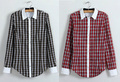 New Retro Long Sleeve Plaid Formal Blouse for Lady 13006