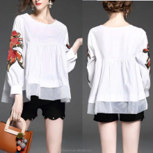 guangzhou supplier hot selling clothes women round neck long sleeve loose blouse tops