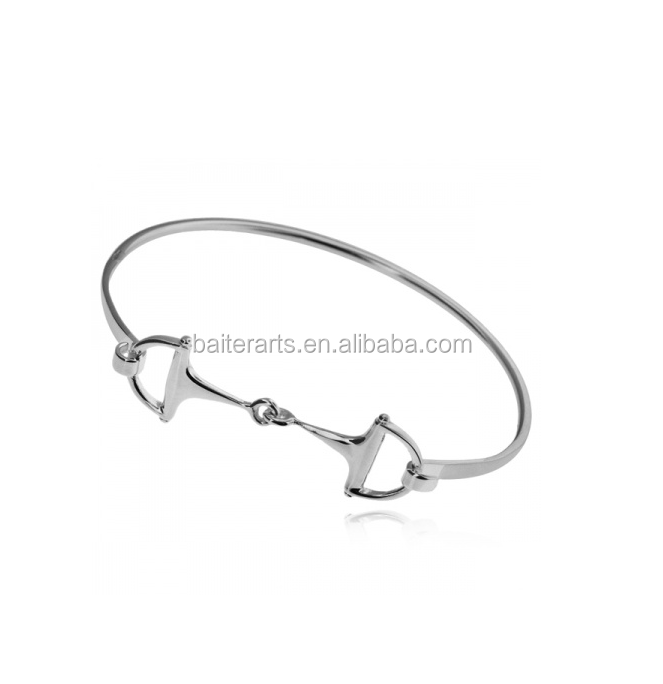 Equestrian Themed Hook Bangle 925 Sterling Silver Snaffle Bit Bangle Bracelet For Women
