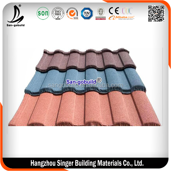Waterproof roof material eco-friendly stone coated metal roof tile(Factory)