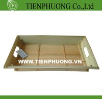 Bamboo & wood serving tray with handle
