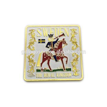 Bulk Discount The Royal Kingdom Souvenirs Metal Square Magnet Sweden Novelty Fridge Magnet for Refrigerator