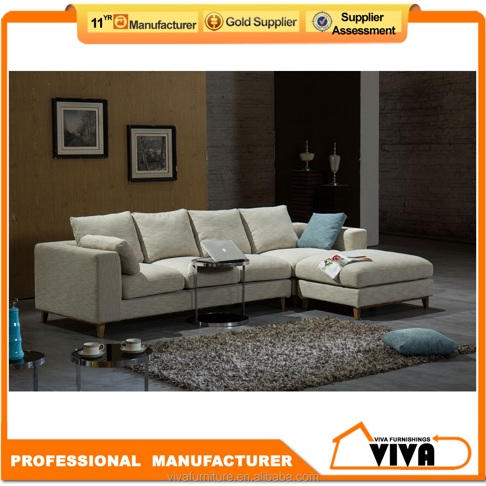 Foshan manufacturer supply used sectional fabric feather filling sofa with ottoman