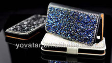 Handmade Bling Crystal Leather Flip Wallet Stand Case Cover For iPhone 4 4S 5 5S
