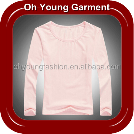 Autumn fashion plain white long sleeves girls t shirt with round collar wholesale made in china