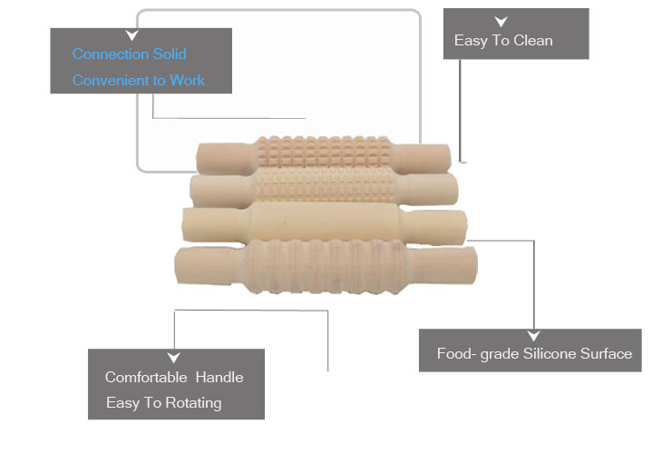 Item F3-014 China export design practical wooden embossing rolling pin