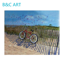 Natural field wall picture modern bicycle oil painting outdoor canvas art