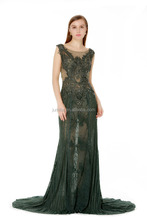 Deep V-neck Diamonds Pure Handmade Tulle Embroidery evening dresses