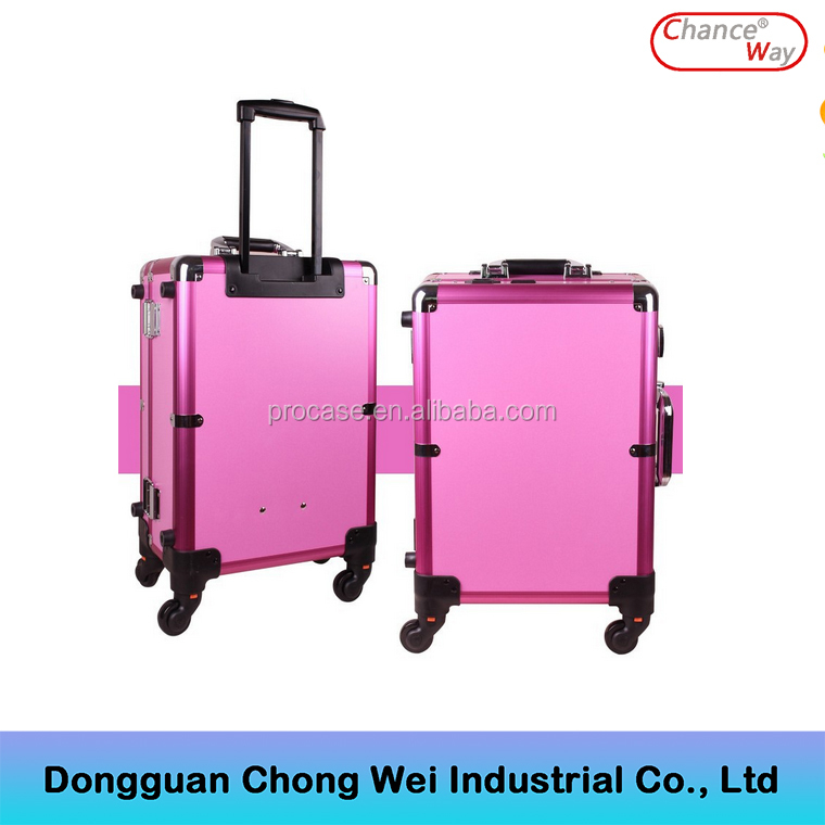 Profelssional makeup beauty Lighting Rolling travel trolley lighted make up case train case with lights