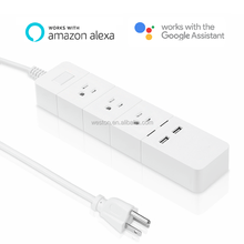 WiFi Smart Power Strip Surge Protector 3-Outlet 2-USB Port APP Control Extenstion Socket Work with Alexa and Goggle Home