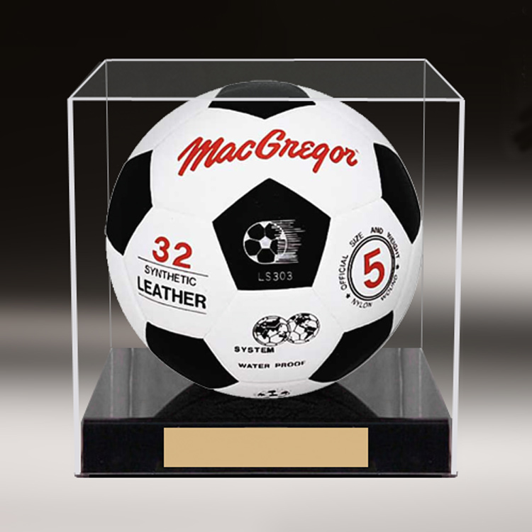 Custom made football show box acrylic ball display stand