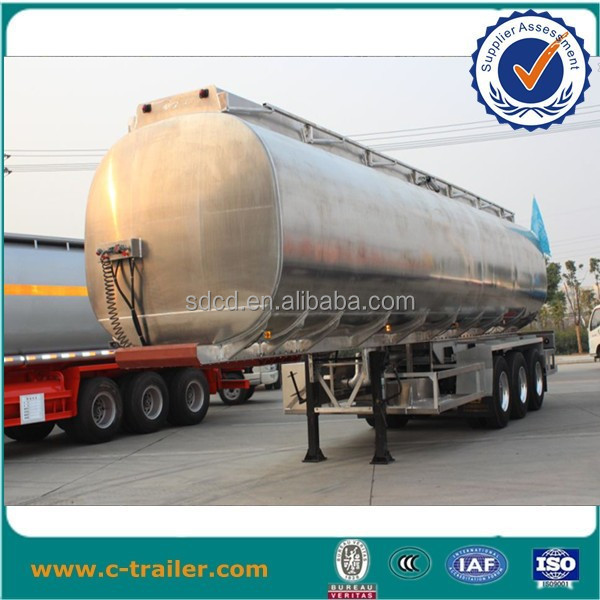 40tons 3 axles 42000Ltrs-60000Ltrs 12 wheeler aluminum fuel tank trailer with handrail for sale