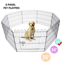 8 Panel Pen Folding Black Metal Exercise Playpen for Dogs