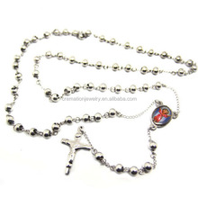 Supported Personalized Stainless Steel Religious Jesus Cross 6MM Rosary Beads Prayer Necklace In Keepsake For Easter Holiday