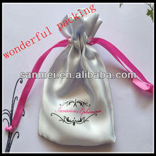 soft drawstring chinese satin jewelry pouch