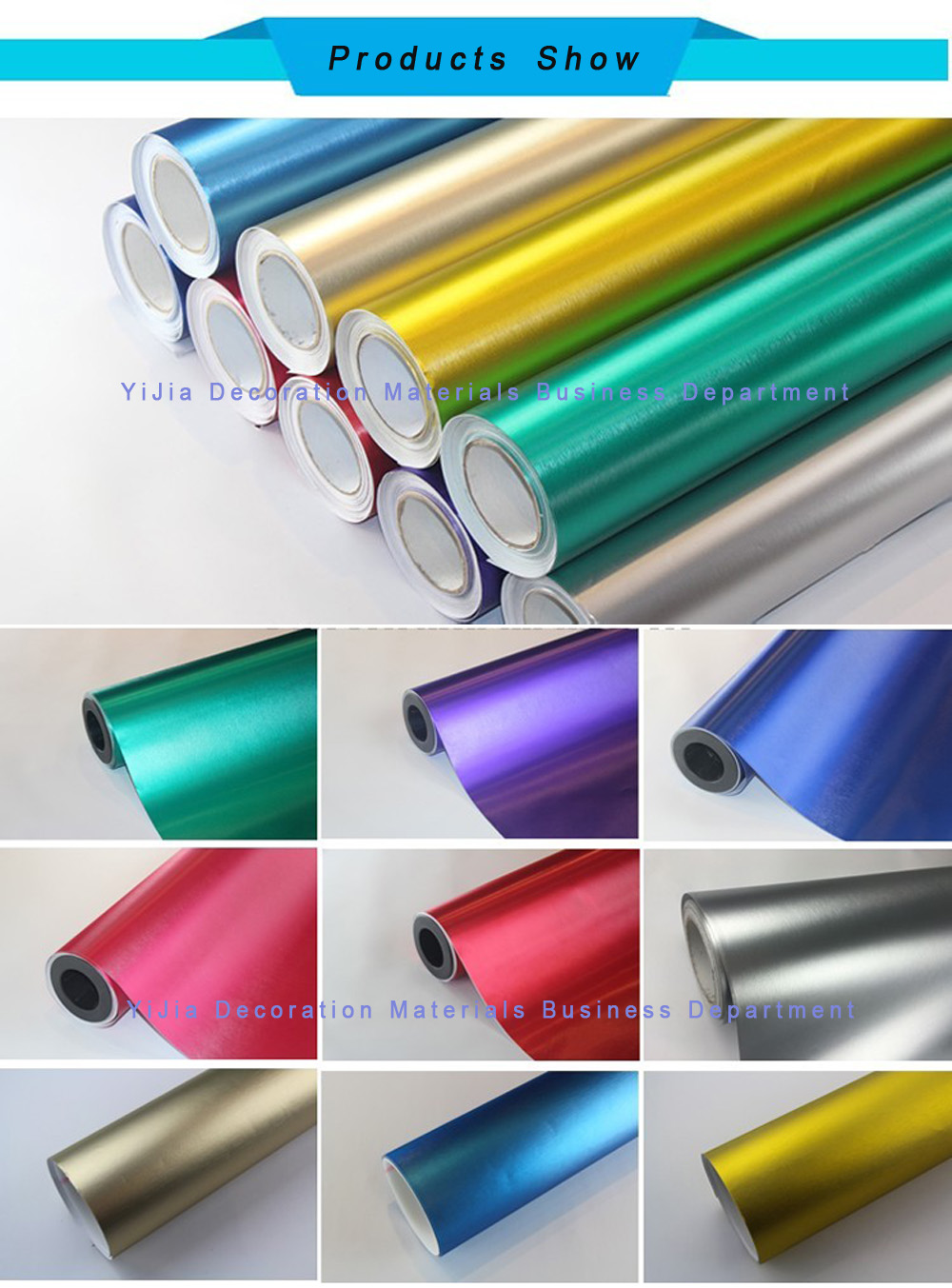 Full Color Printing Brushed Metal Vinyl Car Wrap Chrome Matte Ice Car Wrap Vinyl