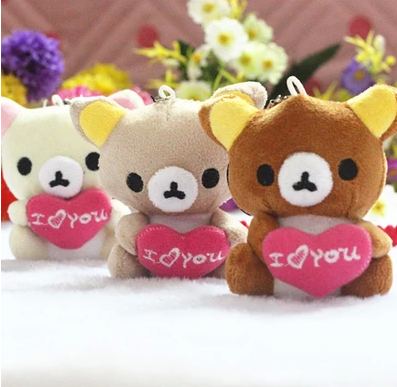 HI Factory supply cute and cheap stuffed plush mini bear keychain toy with love heart