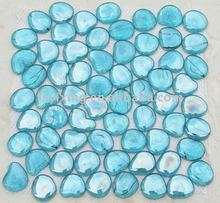 Decorative Blue Pebble Glass Mosaic for River Rock Glass Tile swimming pool bathroom spa decoration