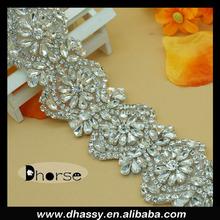 China supply Dhorse DH-1968 crystal beaded bridal trimmings rhinestone trim for wedding dresses