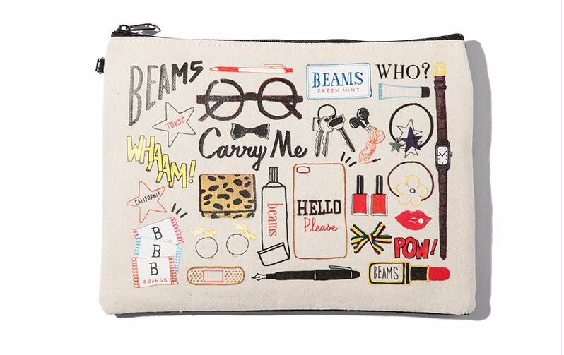custom printing simple design cotton canvas travel makeup bag beauty bag for cosmetic