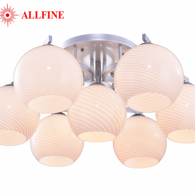Thick iron lamp arms E27 glass lampshades chandelier living room lights