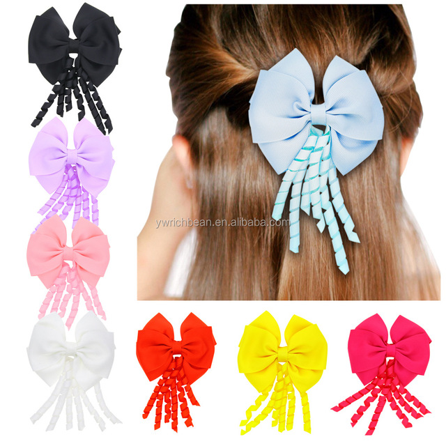 fashion girl korker hair bow curly ribbon hair bow
