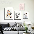 Wall Pictures For Living Room Cuadros Nordic Decoration Bird Girl Wall Art Canvas Painting Posters and Prints