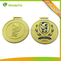 Customized Eco-friendly Metal Sport Award Souvenir Running Olympic Marathon Matte Gold Medal