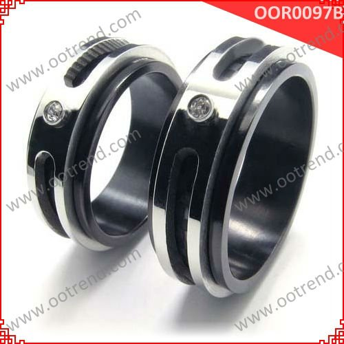 "Fashion Black Plated His & Hers stainless steel couples ""forever love"" rings set"