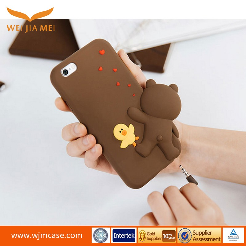 Korean New Design Silicone Case cute bear cell phones cover case for iphone 7 carton