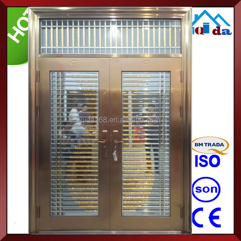 QD-SS097 Entrance Anti- theft Villa Main Stainless Steel Frame Glass Door