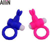 top grade silicone rabbit shape vibration penis cock ring with bullet vibrator