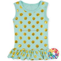Latest Design Aqua Baby Shirt Wholesale Children Clothing Cheap Cotton Gold Polka Dots Tops And Blouses For Girl 2015