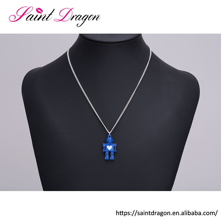Saint Dragon Modern style OEM quality long chain robot pendant children's initial necklace