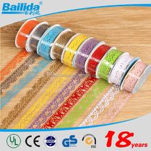 New hot selling products reflective gift packing decorative color lace adhesive tape