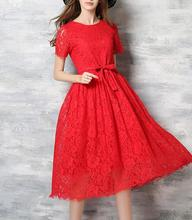 M504 D.Y fashion Sexy Elegant short Sleeve Lace Dress Summe Casual Hollow Out summer dress