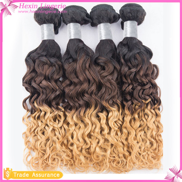 Wholesale Blonde Yellow 5A Ombre Wave Three Tone Women Indian Hair