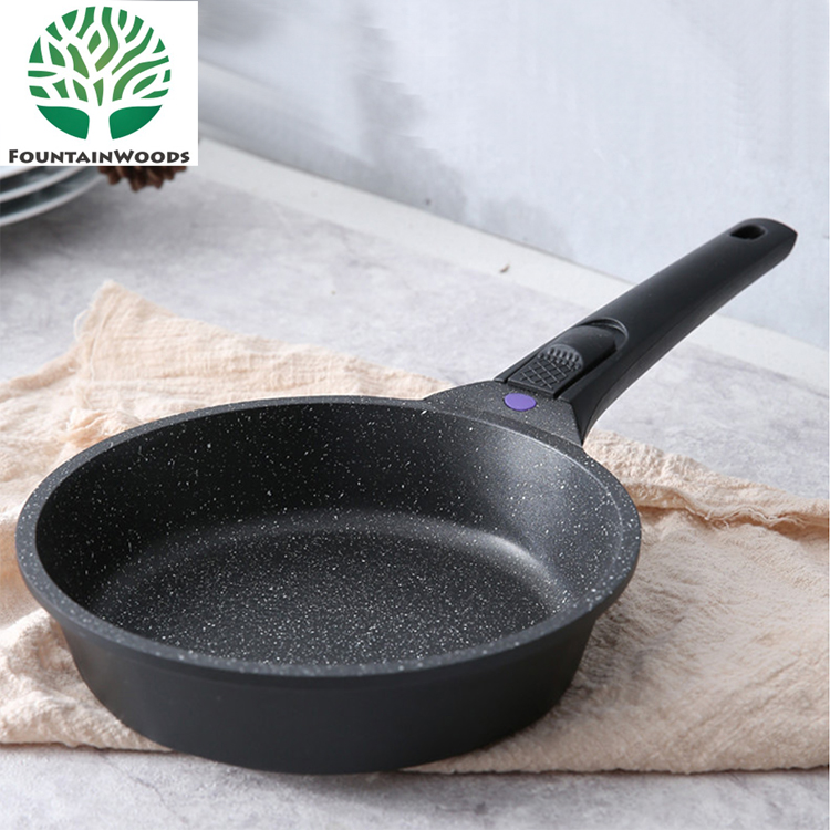 2018 Newest Chinese 20cm 24cm Marble Stone Aluminum Frying Pan with Removable Handle