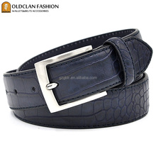 Guangzhou Factory Western Men Dress Leather Black Belts with Silver Buckle