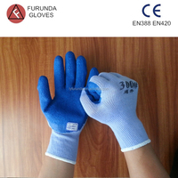 safety equipment rubber coated cotton work protection gloves