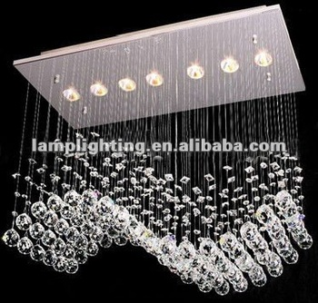 Exclusive rectangular modern crystal pendant lamp